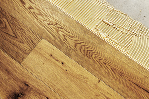 Laying finished oak parquet flooring, close-upの写真素材 [FYI04335447]