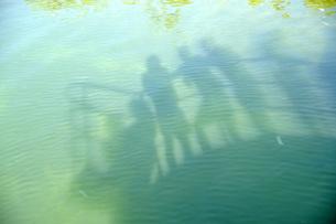 USA, Florida, Florida Keys, silhouette of people on a shipの写真素材 [FYI04335603]
