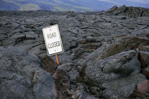 USA, Hawaii, Big Island, Volcanoes National Park, sign lostの写真素材 [FYI04335638]