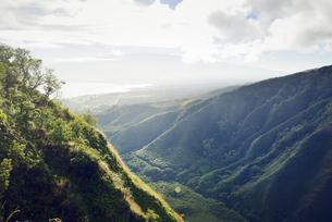 USA, Hawaii, Maui, view from Waihee Ridge Trail to Kahului aの写真素材 [FYI04335642]
