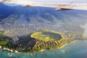 USA, Hawaii, Honolulu, Waikiki, Volcano Diamond Headの写真素材 [FYI04335668]