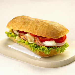 Sandwich with cheese and turkeyの写真素材 [FYI04336015]