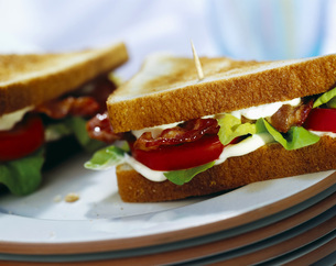 Toast with bacon, lettuce and tomatoの写真素材 [FYI04336025]