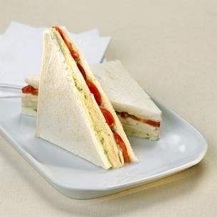 Toast with tomato and mozzarellaの写真素材 [FYI04336026]