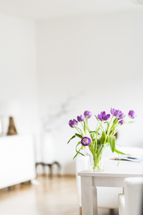 Bunch of tulips on table at homeの写真素材 [FYI04336123]