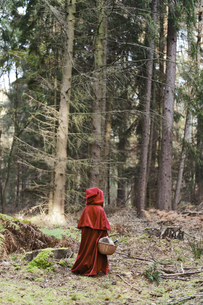 Little girl masquerade as Red Riding Hood standing in the woの写真素材 [FYI04336153]