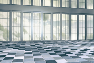 Empty hall in a high-rise building, 3D Renderingのイラスト素材 [FYI04336195]