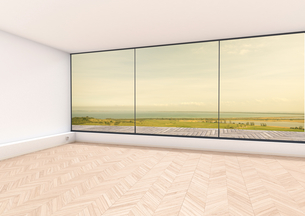 Empty room, window with view to Baltic Sea, Hiddensee, 3D Reのイラスト素材 [FYI04336203]