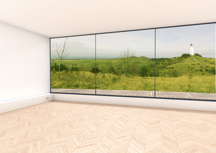 Empty room, window with view to Baltic Sea, Hiddensee, 3D Reのイラスト素材 [FYI04336209]