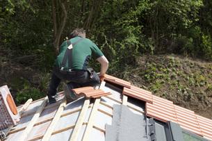 Europe, Germany, Rhineland Palatinate, Construction of houseの写真素材 [FYI04336353]