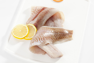 Fresh pollock fillet in tray, close upの写真素材 [FYI04336364]