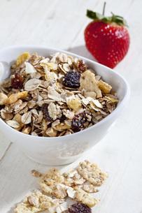 Bowl of muesli with fruit, close upの写真素材 [FYI04336366]