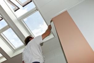 Europe, Germany, Rhineland Palatinate, Man painting interiorの写真素材 [FYI04336375]