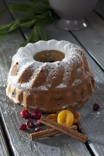 Selfmade ringcake with cranberries and  apricots, cinnamon sの写真素材 [FYI04336445]