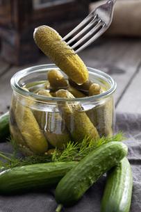 Preserving jar of gherkins and cucumbersの写真素材 [FYI04336454]