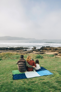 Back view of family with dog sitting on blanket at the coastの写真素材 [FYI04336683]