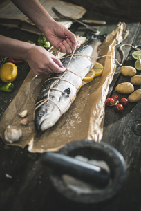 Preparing raw salmon for cookingの写真素材 [FYI04336850]