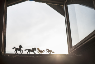 Silhouettes of four toy horses standing at opened windowの写真素材 [FYI04336860]