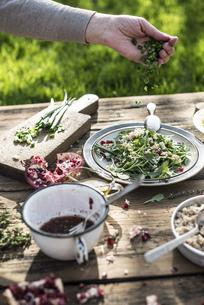 Preparing green salad with pomegranate, manna croup and spriの写真素材 [FYI04336867]