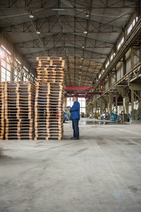 Manager in factory hall looking at stack of palletsの写真素材 [FYI04337098]