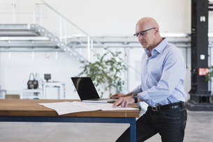 Man with laptop looking at plan on table in factoryの写真素材 [FYI04337281]