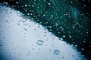 Raindrops falling on puddle, partial viewの写真素材 [FYI04337406]