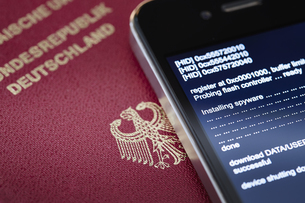 German smartphone that is wiretapped by spywareの写真素材 [FYI04337545]
