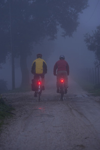 Italy, Tuscany, Mature men riding bicycleの写真素材 [FYI04337600]