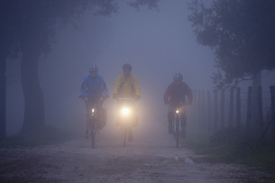 Italy, Tuscany, Men and woman riding bicycleの写真素材 [FYI04337604]