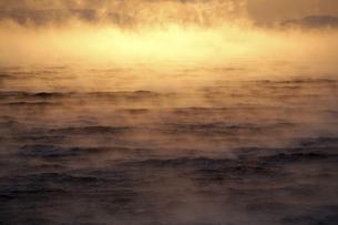 Arctic Ocean, steam raising up from Barents Seaの写真素材 [FYI04337764]