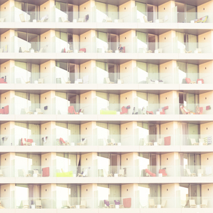 Spain, Mallorca, Cala Ratjada, facade with balconies of hoteの写真素材 [FYI04337812]