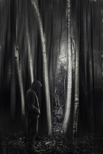 Man with hooded jacket in forest, black and whiteの写真素材 [FYI04337850]