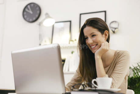 Young female entrepreneur working with laptop at home officeの写真素材 [FYI04337987]