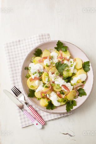 Potato salad garnished with spring onions, parsley and mayonの写真素材 [FYI04338180]
