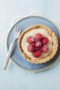Plate of raspberry tart, close upの写真素材 [FYI04338184]