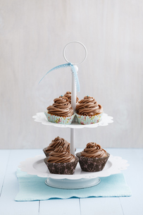 Cupcakes topped with chocolate buttercream on cake stand, clの写真素材 [FYI04338196]