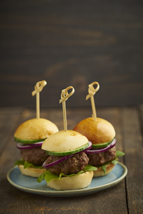 Mini-Burger with mincemeat, salad and red onions on plateの写真素材 [FYI04338218]