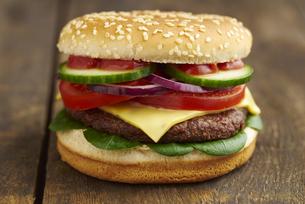 Cheeseburger, close-upの写真素材 [FYI04338219]