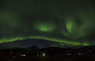Iceland, Snaefellsnes, green polar light at nightの写真素材 [FYI04338716]
