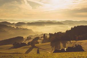 Austria, Muhlviertel, Autumnal landscape at sunriseの写真素材 [FYI04338724]