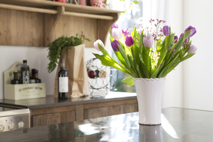Bunch of tulips on kitchen counterの写真素材 [FYI04339028]