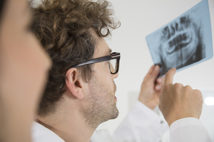 Two dentists discussing x-ray imageの写真素材 [FYI04339215]