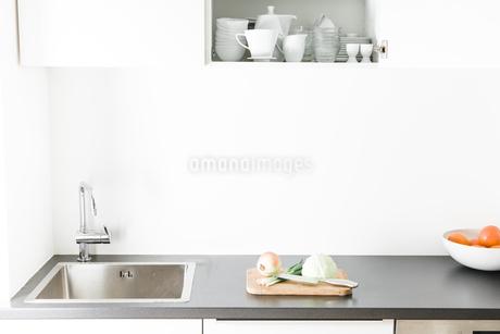 Modern kitchen, open kitchen cupboardの写真素材 [FYI04339407]