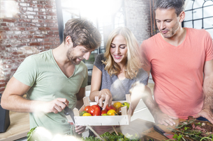 Friends in kitchen looking at crate with tomatoesの写真素材 [FYI04339753]