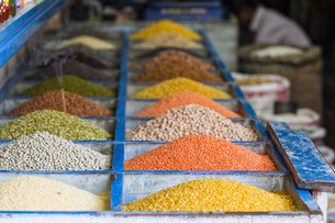 India, Uttarakhand, Rishikesh, Various lentils in box, closeの写真素材 [FYI04340220]