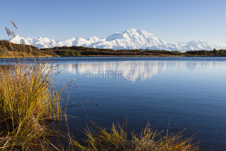 USA, Alaska, View of Mount Mckinley and reflection of pond aの写真素材 [FYI04340231]