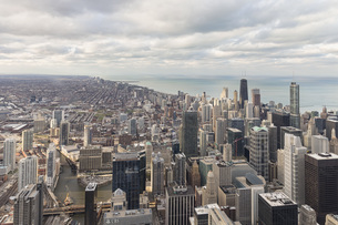 USA, Illinois, Chicago, View from Willis Tower towards Lakeの写真素材 [FYI04340263]