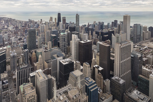 USA, Illinois, Chicago, View from Willis Tower towards Lakeの写真素材 [FYI04340264]