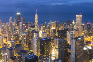 USA, Illinois, Chicago, View from Willis Tower towards Lakeの写真素材 [FYI04340266]
