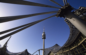 Germany, Bavaria, Munich, Olympiapark with tv towerの写真素材 [FYI04340446]